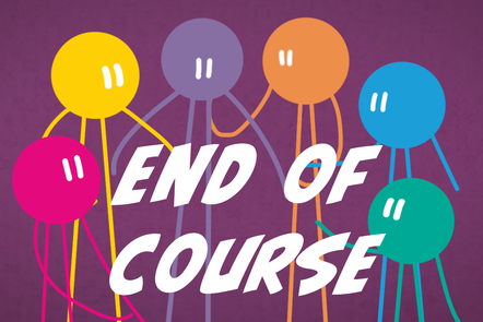 A cartoon icon of a person with 'end of course' written in the centre.