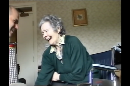 A screenshot from the video of Richard and Kath in a music therapy session