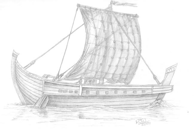 Artistic impression of a Roman period Sailing Ship