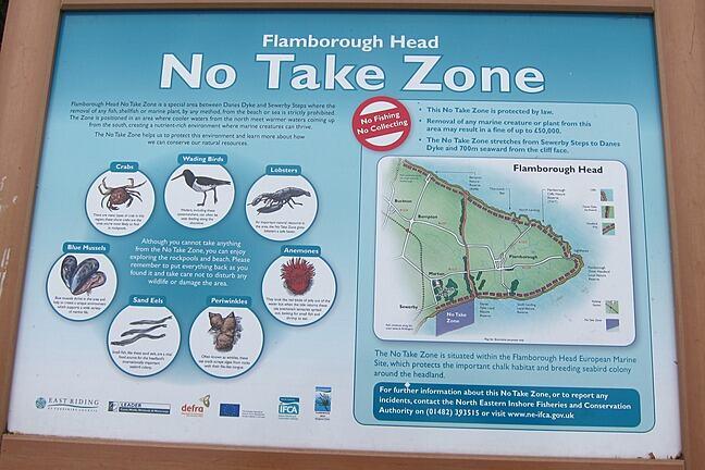 A sign at the Flamborough Head No Take Zone