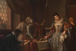 """Mary Queen of Scots stands in a room with others in a painting by Gavin Hamilton: """"The Abdication of Mary Queen of Scots""""    © The Hunterian, University of Glasgow."""