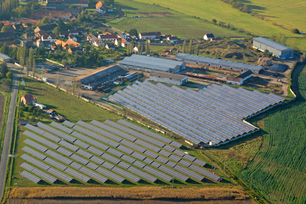 Aerial image of a large photovoltaic power plant