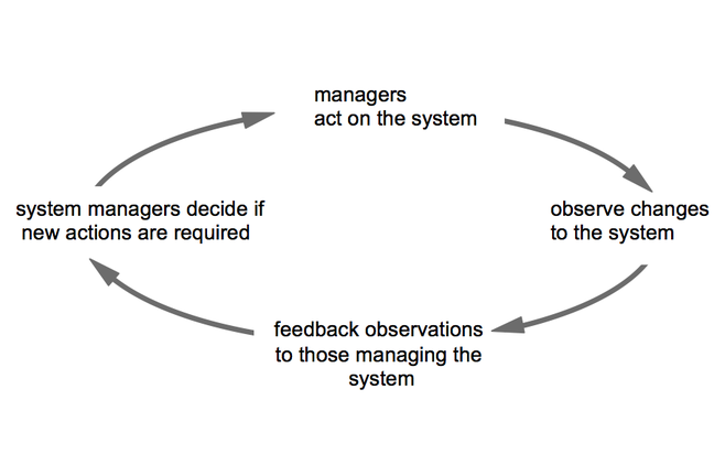 Feedback loop with managers acting on a system, making changes, observing the results, and acting on the feedback.