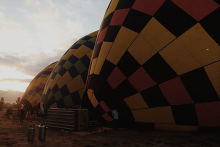 Partially inflated hot air balloons