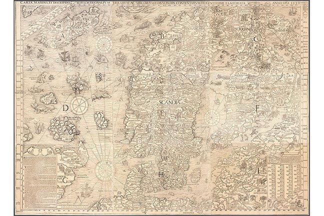 Carta Marina made by Magnus Olaus 1539 in Venice, Italy