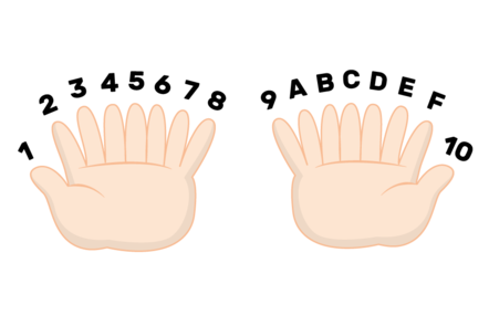 An illustration of hands with eight fingers, counting in hexadecimal