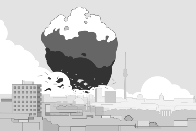 Illustration of nuclear bomb explosion over city