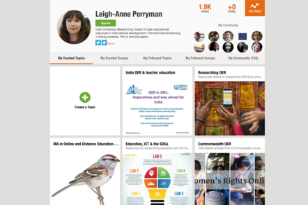 A screenshot of a web collection page curated by Leigh-Anne Perryman. Items shown include a garden bird, learners using mobile phones, and an article on Women's Rights Day.