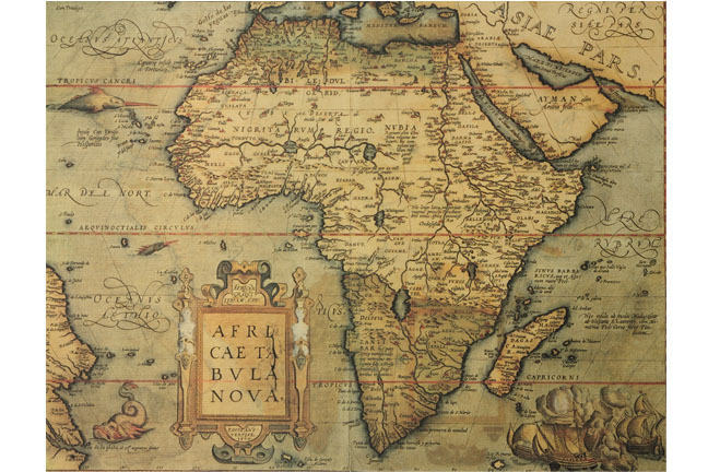Reproduction of 16th century map of Africa by the Dutch cartographer Abraham Ortelius.