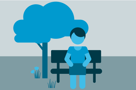 Illustration of a figure sitting on a bench in a park
