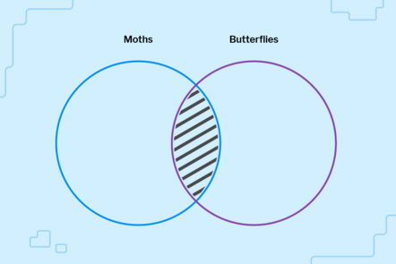 A venn diagram of moths and butterflies with the overlap shaded.