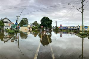 Flooded road in town