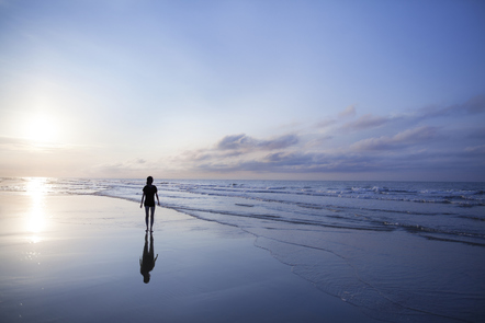 A person on a beach looking at the ocean