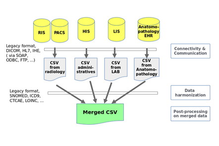 Data flow showing merging of different data sources into a single CSV file.