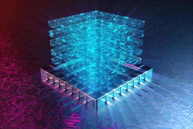 Hologram above CPU machine