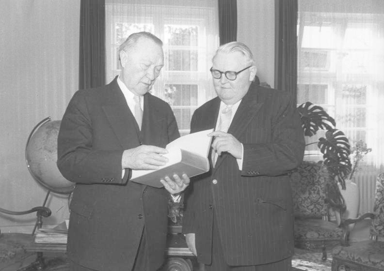 Ludwig Erhard with Konrad Adenauer in 1956, while Erhard was Minister of Economics.