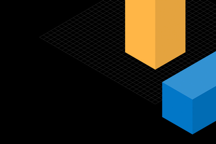A blue and a yellow cuboid on a black background