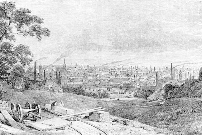 An engraving of the Manchester skyline in the nineteenth century
