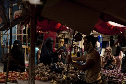 Busy market scenes in the Al-Basateen urban refugee area, Aden, Yemen.