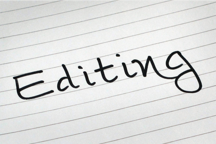 A page with the word 'Editing' written down.