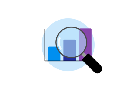 An illustration of a bar graph being magnified by a magnifying glass