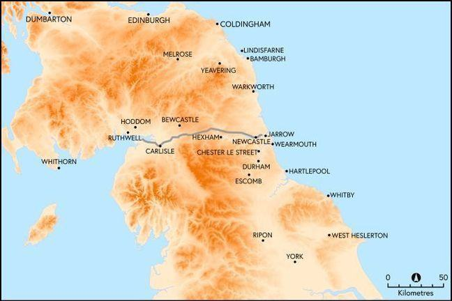 A map displaying the main settlements around the kingdom of Northumbria both to the north and south of Hadrian's Wall.