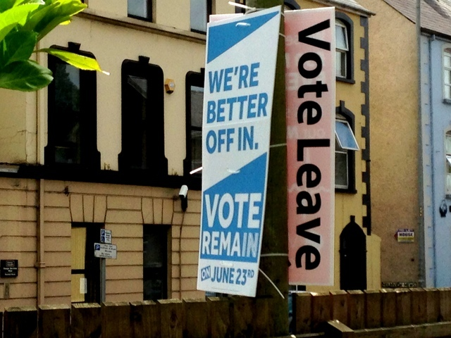 Remain and Leave posters in Omagh