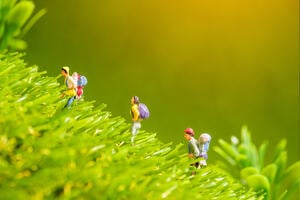 Miniature figure person backpack team, travelers standing on green grass,tourism concept