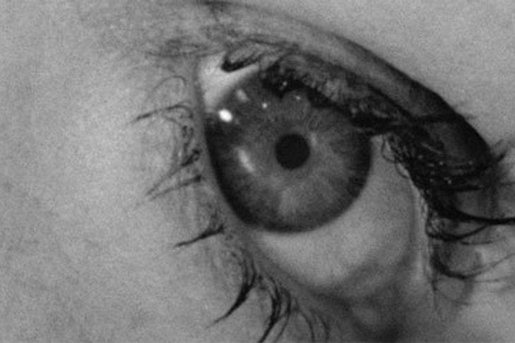 Still image of a woman's eye from film Psycho 1960. Extreme close up - Where an object, item or body part fills the film frame. Used for heightening emotion.