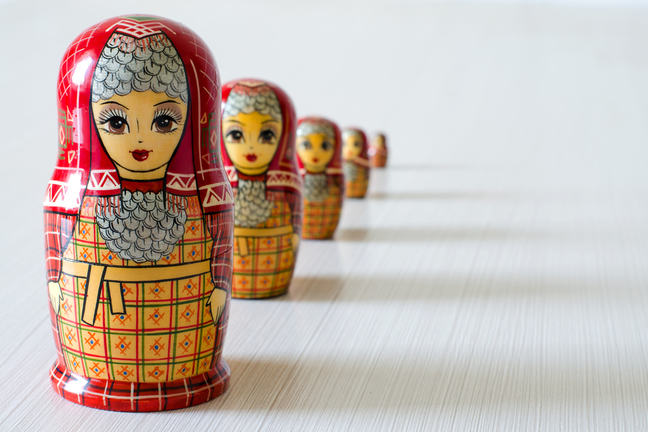 A set of matryoshka dolls representing an immersion into culture.