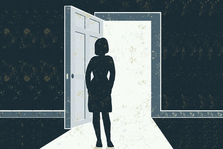 A woman stands inside her home in front of an open door. Illustration.