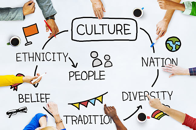Cultures are formed from a people's traditions and customs. This can be linked to their ethnicity, beliefs, their traditions, and in a more modern sense, their nationality.