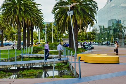 Urban landscape with water feature