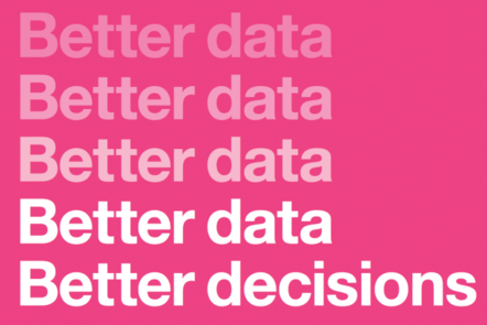 a poster saying 'better data' repeated 4 times, and then 'better decisions'