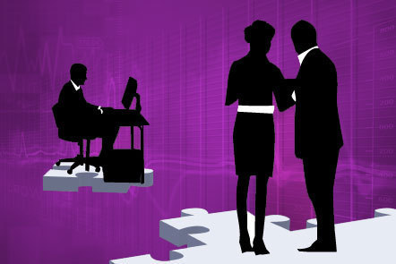 Illustration of three silhouetted business figures