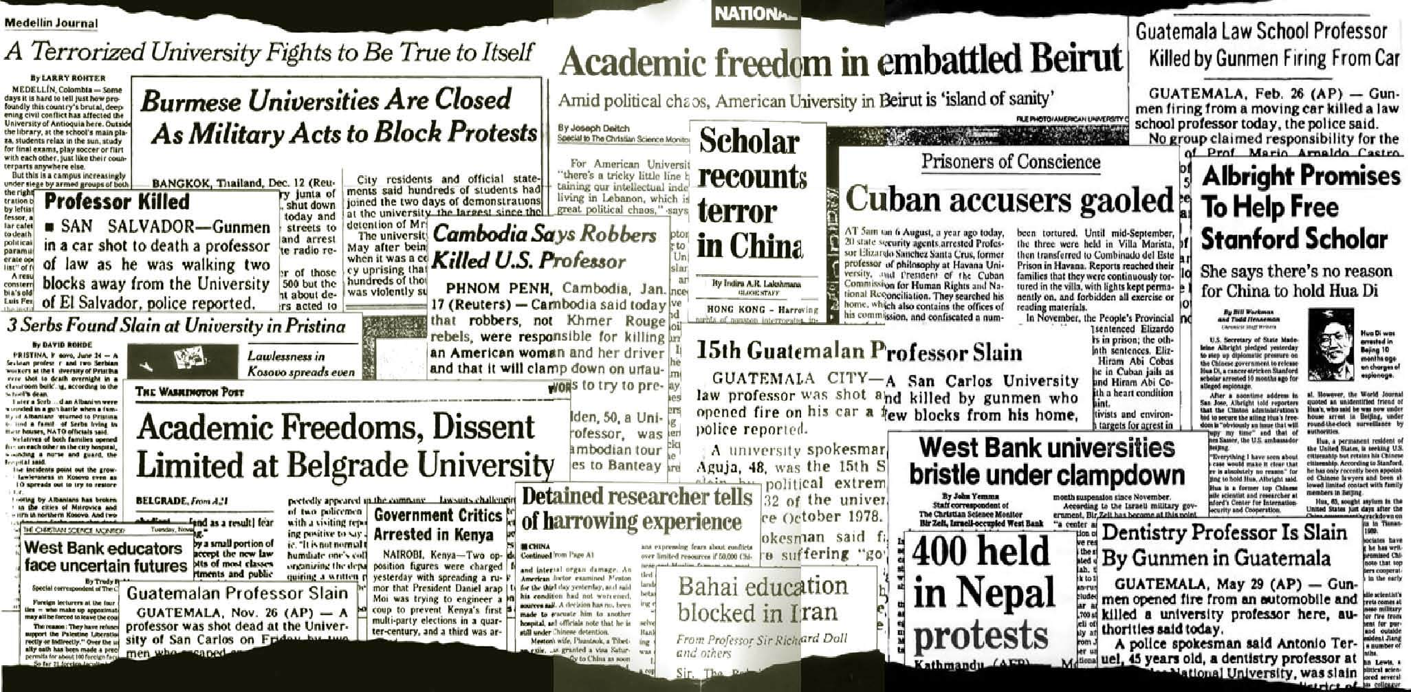 Collage of newspaper headlines about academic freedom from around the world