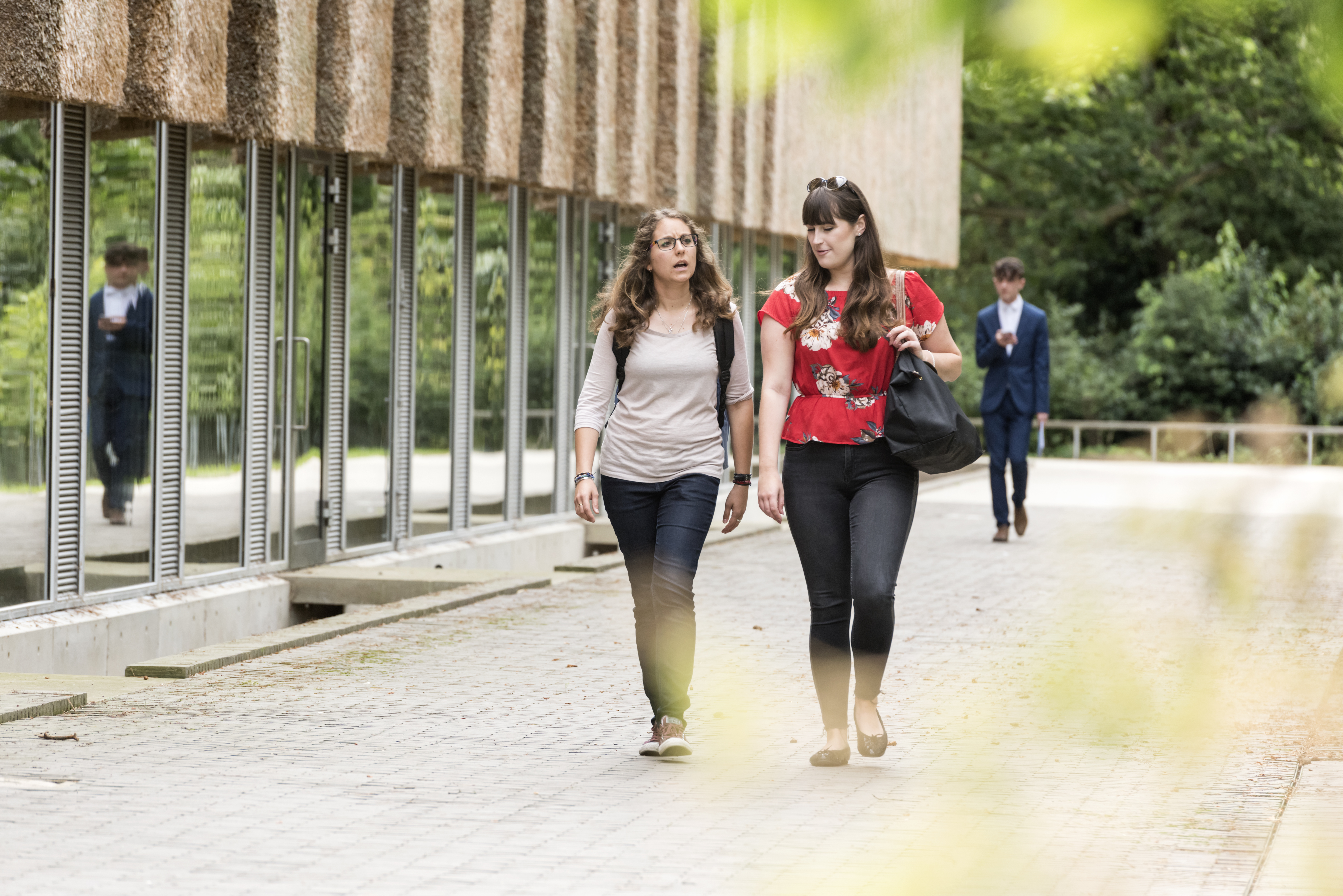 Students walking around university campus