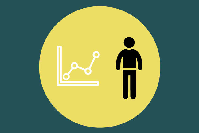 A cartoon image of person is standing next to a line graph. A yellow circle contains both figures placed in a dark green background