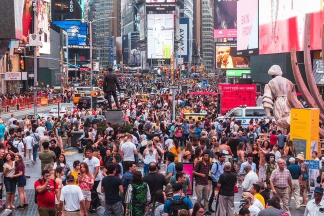 Crowds of people in Times Square, New York, USA