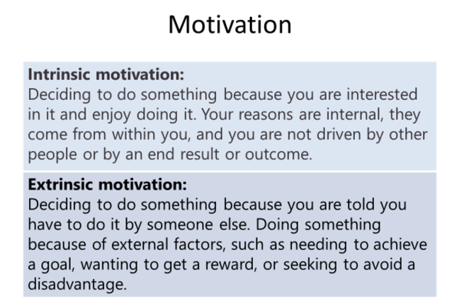 Definitions of intrinsic and extrinsic motivation