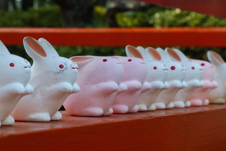 A row of rabbit statues