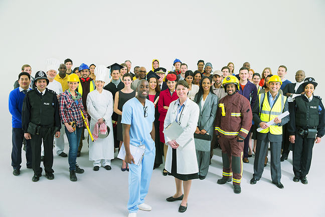 The image is of a large group of professions, all of which belong to different public sector jobs.