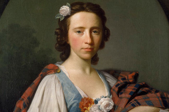 Portrait of Flora Macdonald with white rose in her dark hair, wearing red tartan plaid pinned at right shoulder, over white sleeves and blue bodice with white and orange flowers at her breast; holding in left hand a garland of white and yellow flowers