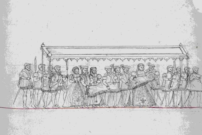 Part of a pen and ink drawing of the christening cortege circa 1560
