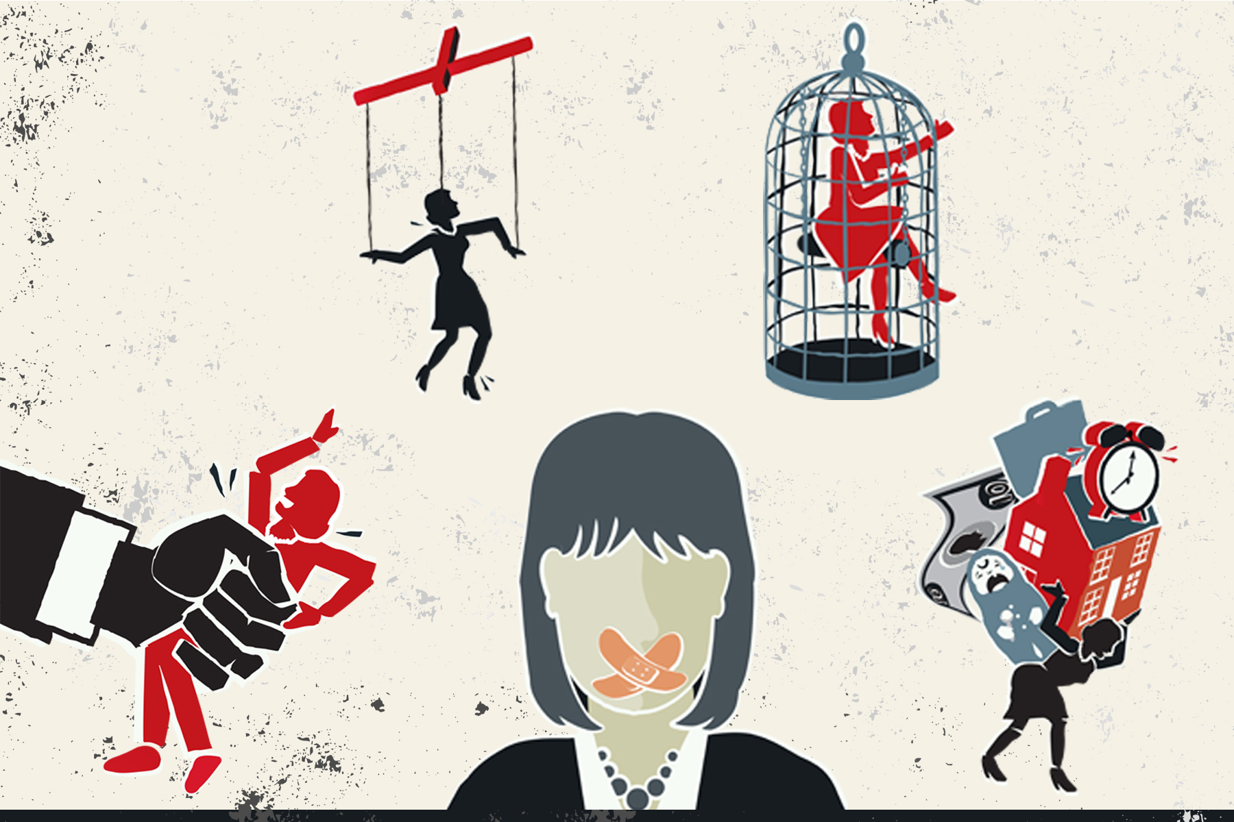 Icons representing different forms of abuse: A woman clasped by a giant hand, a woman strung up with puppet strings, a woman trapped in a cage, a woman carrying responsibilities on her back (money, childcare, time ,work), a woman gagged