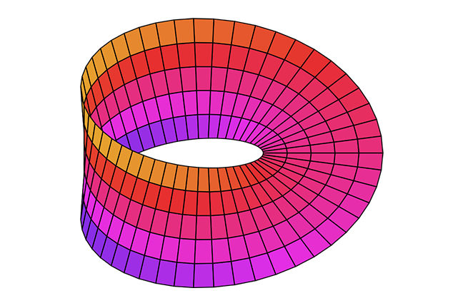 Picture of a Mobius band in bright colors