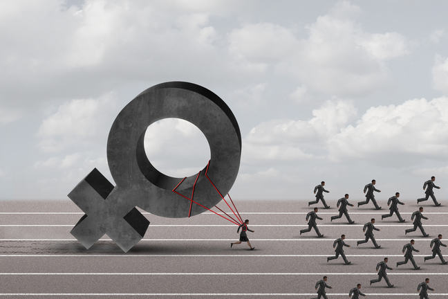 The image shows lots of men and one woman in a running race. The woman behind the men as is tethered to the symbol for female which is holding her back.