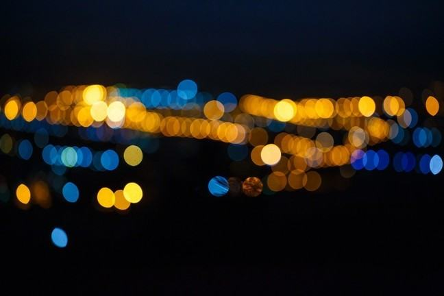 Abstract image of distant city lights out of focus