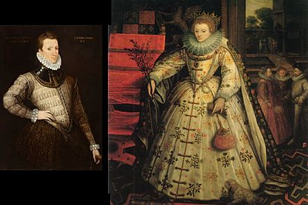 A split image showing portraits of Philip Sidney and Elizabeth the first
