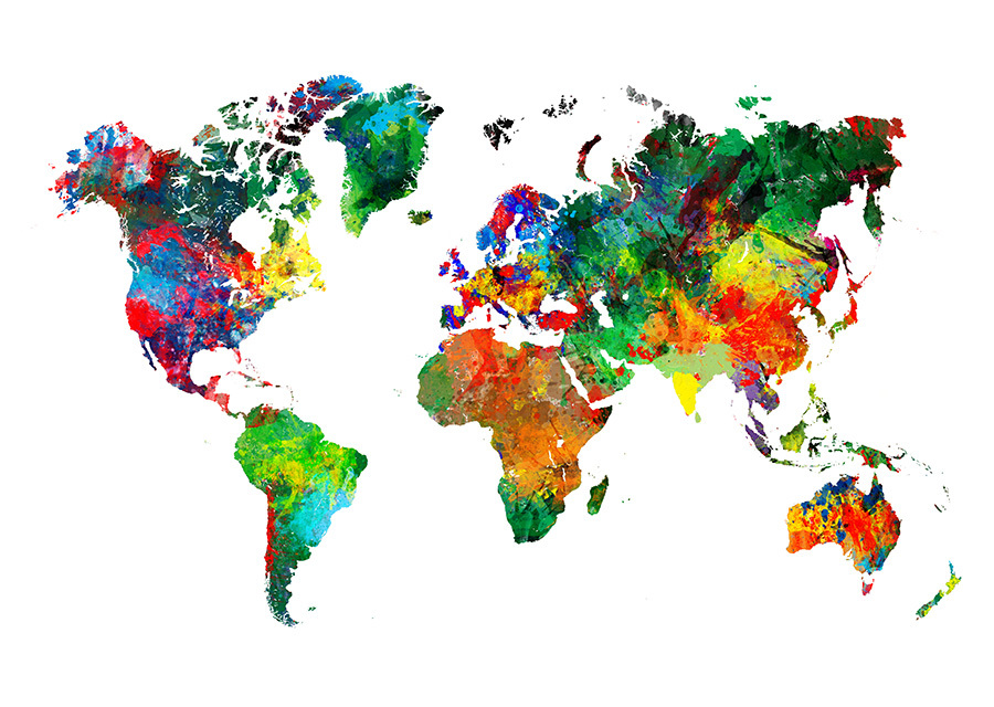 Colourfully painted world map